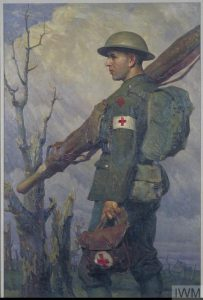 An RAMC Stretcher-Bearer, Fully Equipped (Art.IWM ART 3775) image: An RAMC stretcher-bearer walking along carring a stretcher over his right shoulder and a bag of medical supplies in his left hand. He is pictured against a background of a lowering sky and shattered trees. Copyright: © IWM. Original Source: http://www.iwm.org.uk/collections/item/object/23052