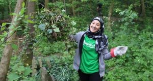Volunteer helping with nature conservation