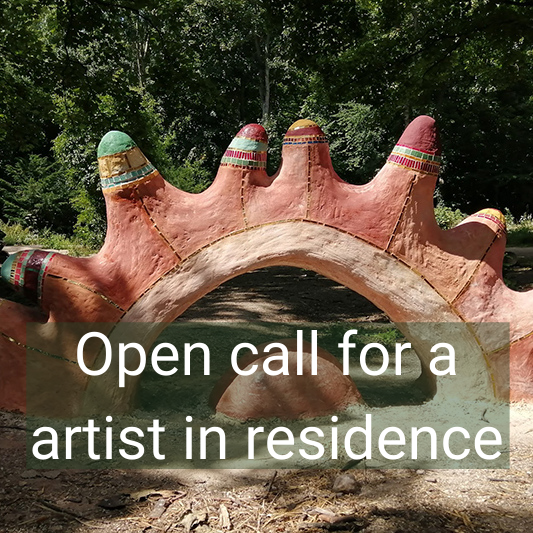 Image of an artwork with the words 'open call for a artist in residence'