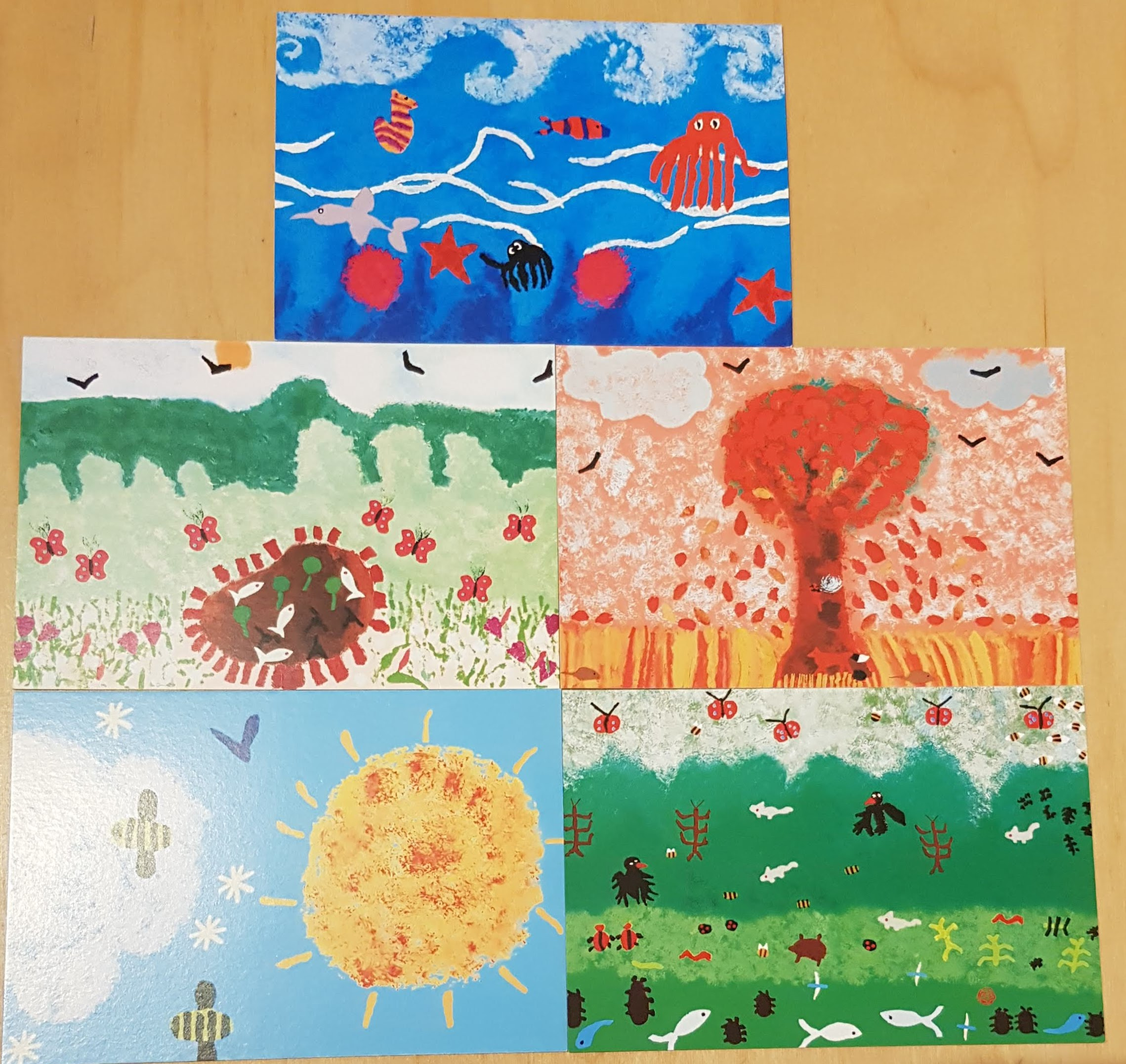 Photo of postcards designed by children